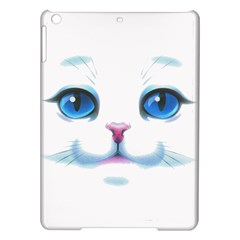 Cute White Cat Blue Eyes Face iPad Air Hardshell Cases