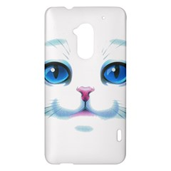 Cute White Cat Blue Eyes Face HTC One Max (T6) Hardshell Case