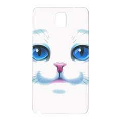 Cute White Cat Blue Eyes Face Samsung Galaxy Note 3 N9005 Hardshell Back Case
