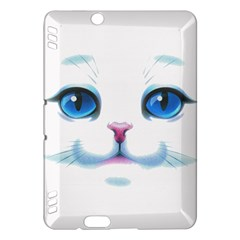 Cute White Cat Blue Eyes Face Kindle Fire HDX Hardshell Case