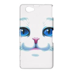 Cute White Cat Blue Eyes Face Sony Xperia Z1 Compact