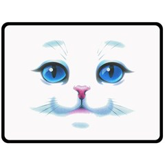Cute White Cat Blue Eyes Face Double Sided Fleece Blanket (Large)