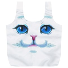 Cute White Cat Blue Eyes Face Full Print Recycle Bags (L)