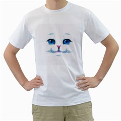 Cute White Cat Blue Eyes Face Men s T-Shirt (White)