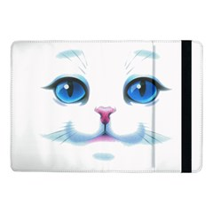 Cute White Cat Blue Eyes Face Samsung Galaxy Tab Pro 10.1  Flip Case