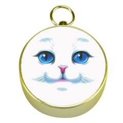 Cute White Cat Blue Eyes Face Gold Compasses