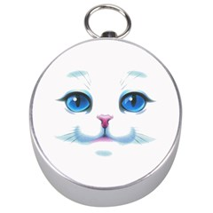 Cute White Cat Blue Eyes Face Silver Compasses
