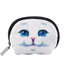 Cute White Cat Blue Eyes Face Accessory Pouches (Small)
