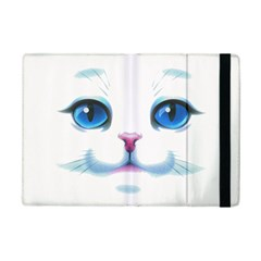 Cute White Cat Blue Eyes Face iPad Mini 2 Flip Cases
