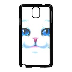 Cute White Cat Blue Eyes Face Samsung Galaxy Note 3 Neo Hardshell Case (Black)
