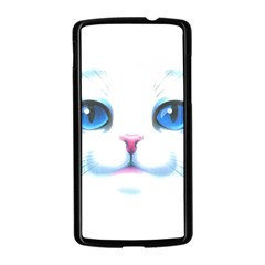 Cute White Cat Blue Eyes Face Nexus 5 Case (Black)