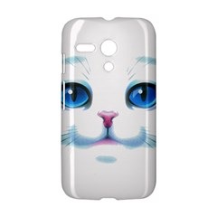 Cute White Cat Blue Eyes Face Motorola Moto G