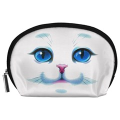 Cute White Cat Blue Eyes Face Accessory Pouches (Large)
