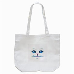Cute White Cat Blue Eyes Face Tote Bag (White)