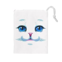 Cute White Cat Blue Eyes Face Drawstring Pouches (Large)