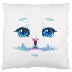 Cute White Cat Blue Eyes Face Large Flano Cushion Case (Two Sides)