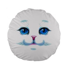 Cute White Cat Blue Eyes Face Standard 15  Premium Flano Round Cushions
