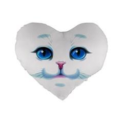 Cute White Cat Blue Eyes Face Standard 16  Premium Flano Heart Shape Cushions