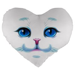 Cute White Cat Blue Eyes Face Large 19  Premium Flano Heart Shape Cushions