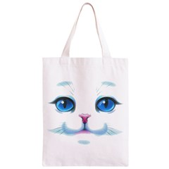Cute White Cat Blue Eyes Face Classic Light Tote Bag
