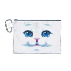 Cute White Cat Blue Eyes Face Canvas Cosmetic Bag (M)