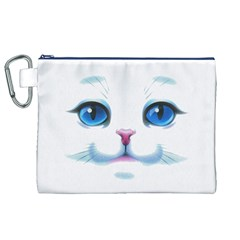 Cute White Cat Blue Eyes Face Canvas Cosmetic Bag (XL)