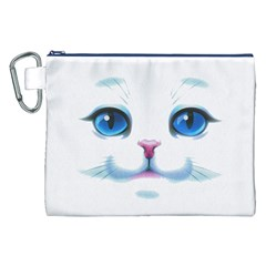 Cute White Cat Blue Eyes Face Canvas Cosmetic Bag (XXL)