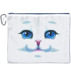 Cute White Cat Blue Eyes Face Canvas Cosmetic Bag (XXXL)