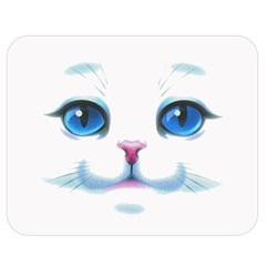 Cute White Cat Blue Eyes Face Double Sided Flano Blanket (Medium)