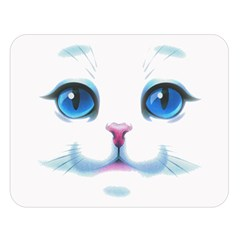 Cute White Cat Blue Eyes Face Double Sided Flano Blanket (Large)