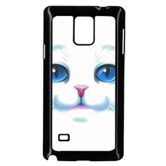 Cute White Cat Blue Eyes Face Samsung Galaxy Note 4 Case (Black)
