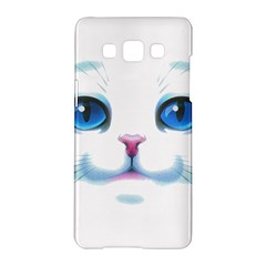 Cute White Cat Blue Eyes Face Samsung Galaxy A5 Hardshell Case