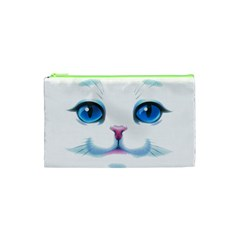 Cute White Cat Blue Eyes Face Cosmetic Bag (XS)