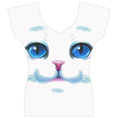 Cute White Cat Blue Eyes Face Women s V-Neck Cap Sleeve Top