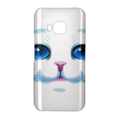Cute White Cat Blue Eyes Face HTC One M9 Hardshell Case
