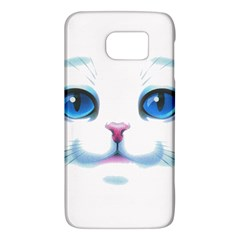 Cute White Cat Blue Eyes Face Galaxy S6