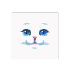 Cute White Cat Blue Eyes Face Satin Bandana Scarf