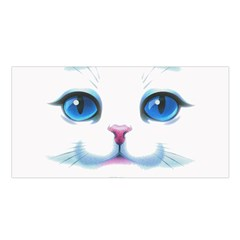 Cute White Cat Blue Eyes Face Satin Shawl