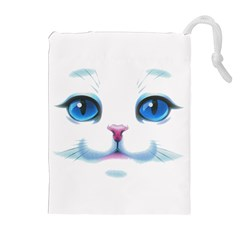 Cute White Cat Blue Eyes Face Drawstring Pouches (Extra Large)