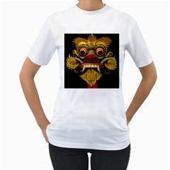 Bali Mask Women s T-Shirt (White) (Two Sided)