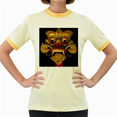Bali Mask Women s Fitted Ringer T-Shirts