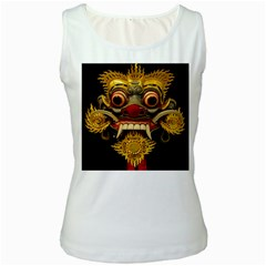 Bali Mask Women s White Tank Top