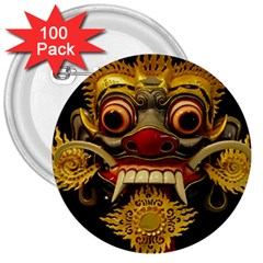 Bali Mask 3  Buttons (100 pack)
