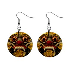 Bali Mask Mini Button Earrings