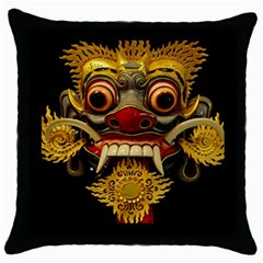 Bali Mask Throw Pillow Case (Black)