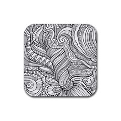 Zentangle Art Patterns Rubber Square Coaster (4 pack)