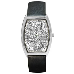 Zentangle Art Patterns Barrel Style Metal Watch