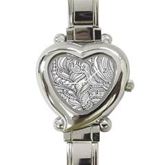 Zentangle Art Patterns Heart Italian Charm Watch