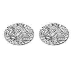 Zentangle Art Patterns Cufflinks (Oval)