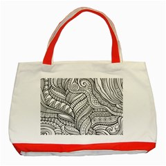 Zentangle Art Patterns Classic Tote Bag (Red)